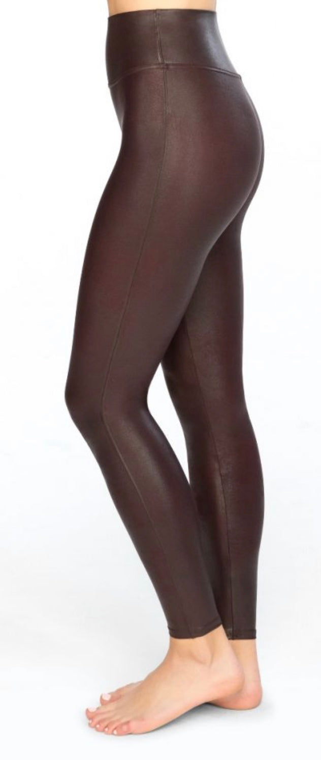 Faux Leather Wine Legging with Free Shipping