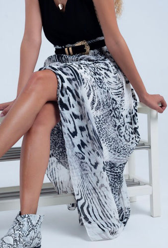 Long Pleated Animal Print Skirt Free Shipping