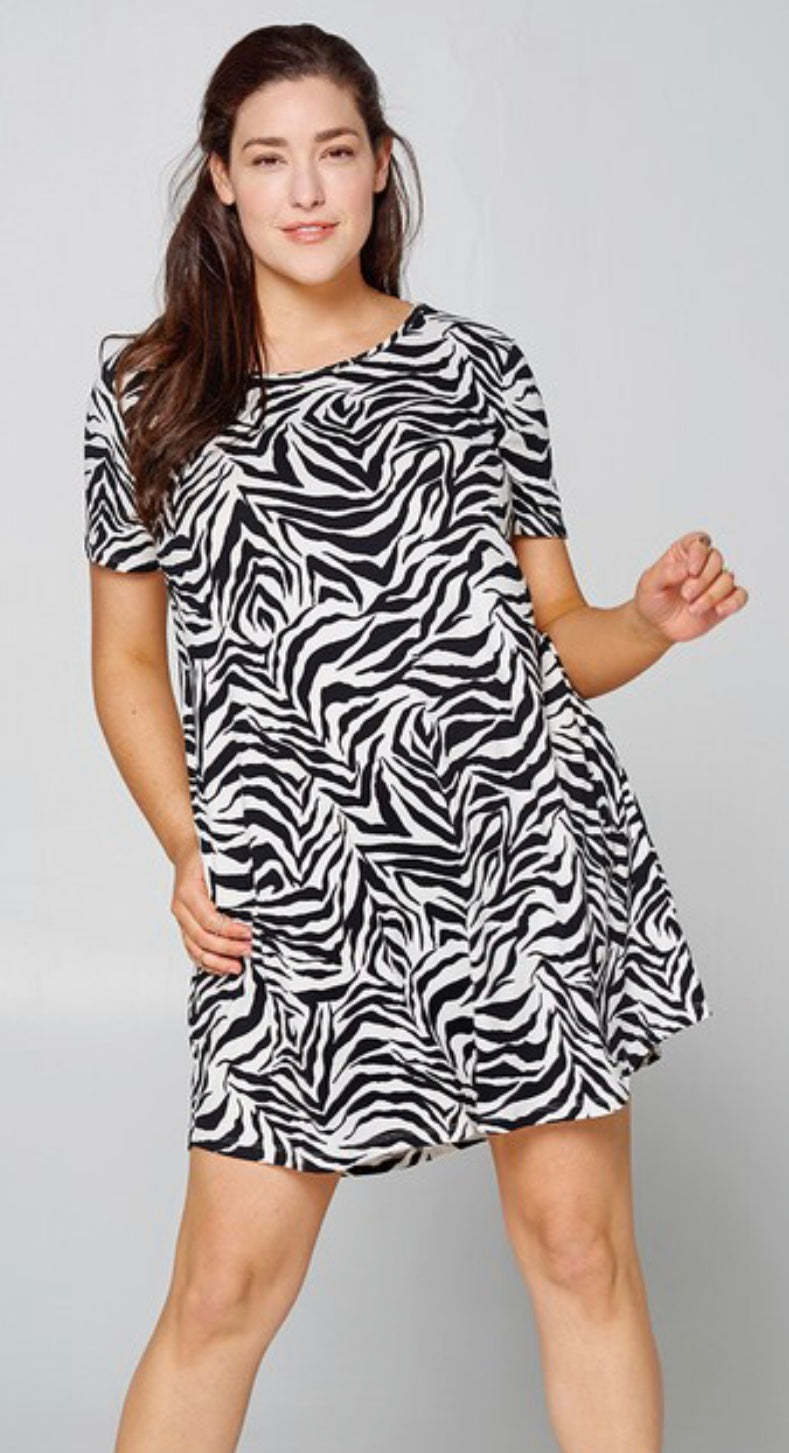 Zebra Print plus size dress with Free Shipping