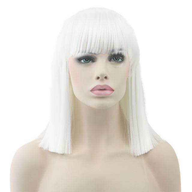 """Bimbo Suzy"" Short Wig w/ Bangs Sissy Panty Shop White 16 inches"