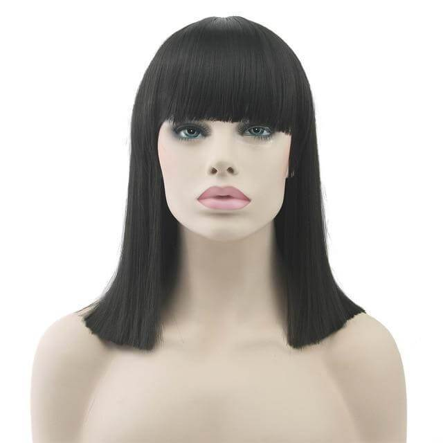 """Bimbo Suzy"" Short Wig w/ Bangs Sissy Panty Shop Black 16 inches"