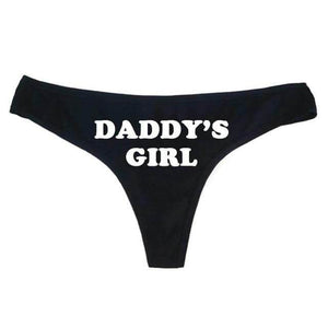 """Daddy's Girl"" Thong Sissy Panty Shop BLACK S"