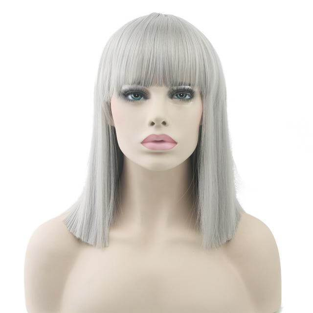 """Bimbo Suzy"" Short Wig w/ Bangs Sissy Panty Shop Gray 16 inches"
