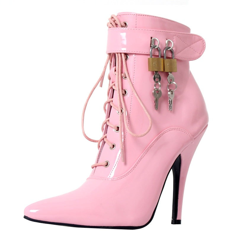 """Sissy Polly"" Stiletto Ankle Boots w/ Padlocks-Sissy Panty Shop"