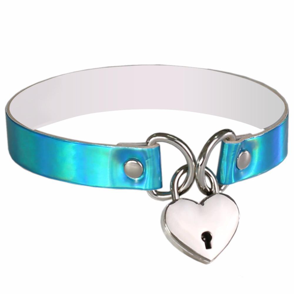 Heart & Key Sissy Locker Choker Sissy Panty Shop Blue