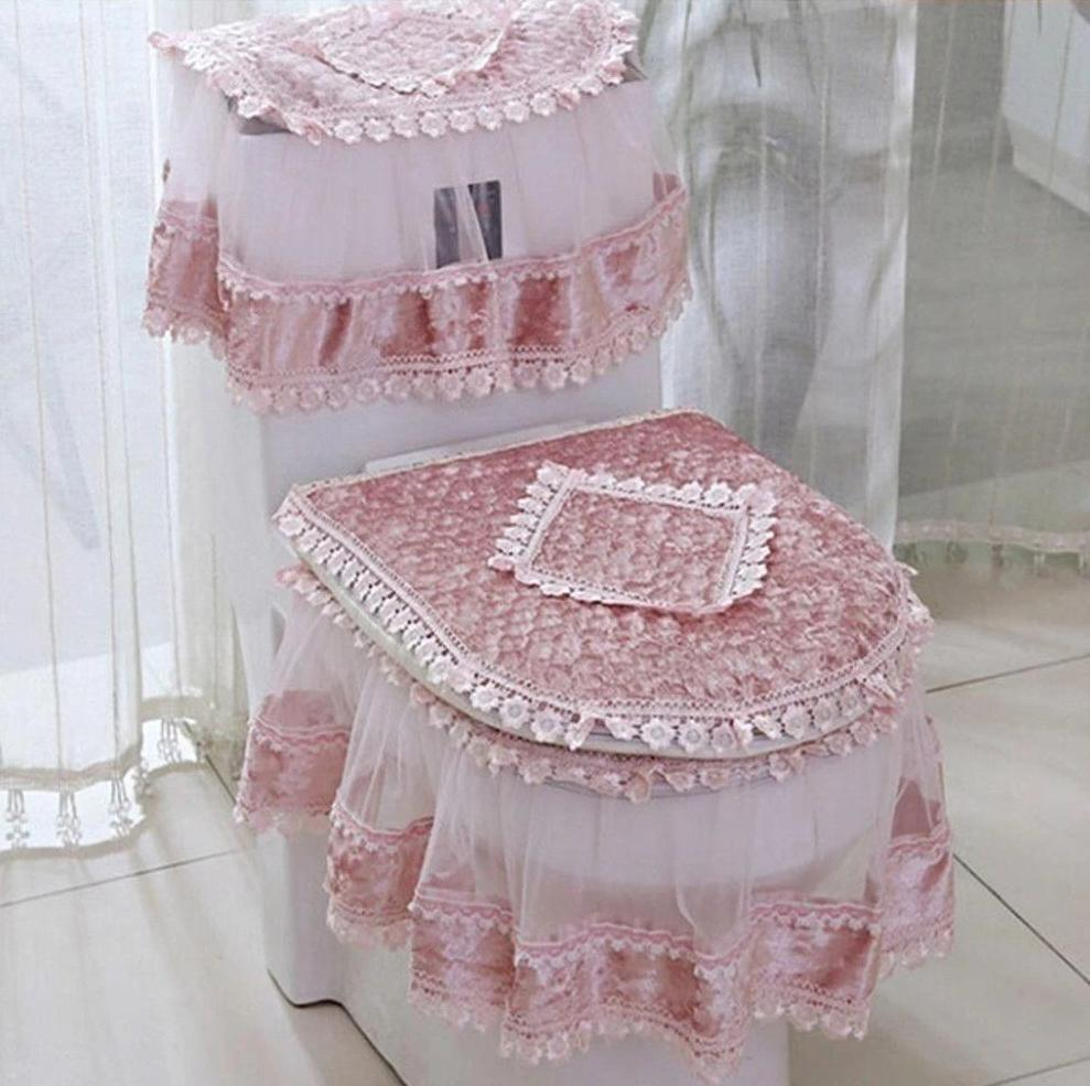 3 PCS Flannel Cashmere Lace Sissy Bathroom Set Sissy Panty Shop