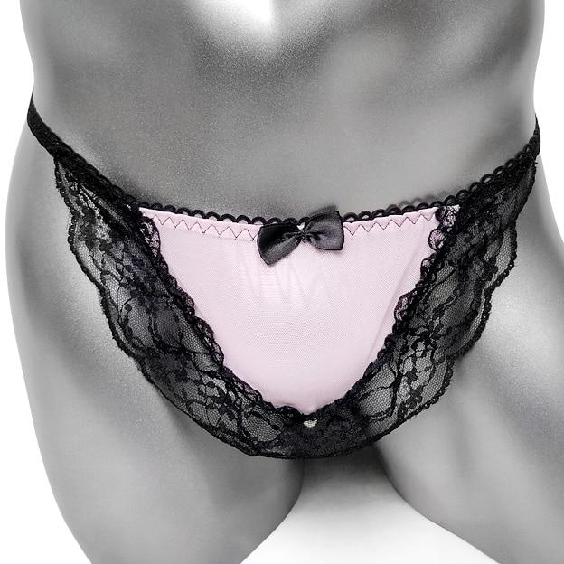 Lace & Bow Sissy Thong Sissy Panty Shop One Size Pink