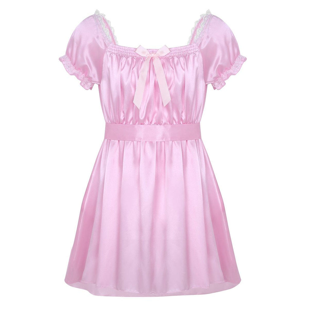 """Sissy Katy"" Satin Babydoll Dress Sissy Panty Shop M Pink"