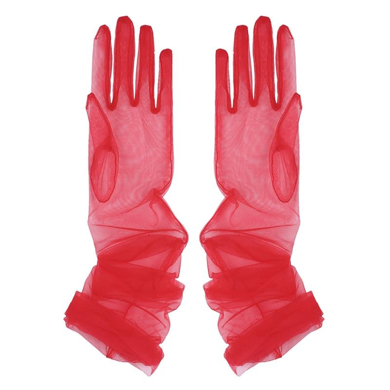Transparent Sheer Tulle Gloves Sissy Panty Shop Red One Size