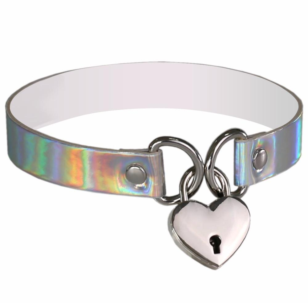 Heart & Key Sissy Locker Choker Sissy Panty Shop Silver
