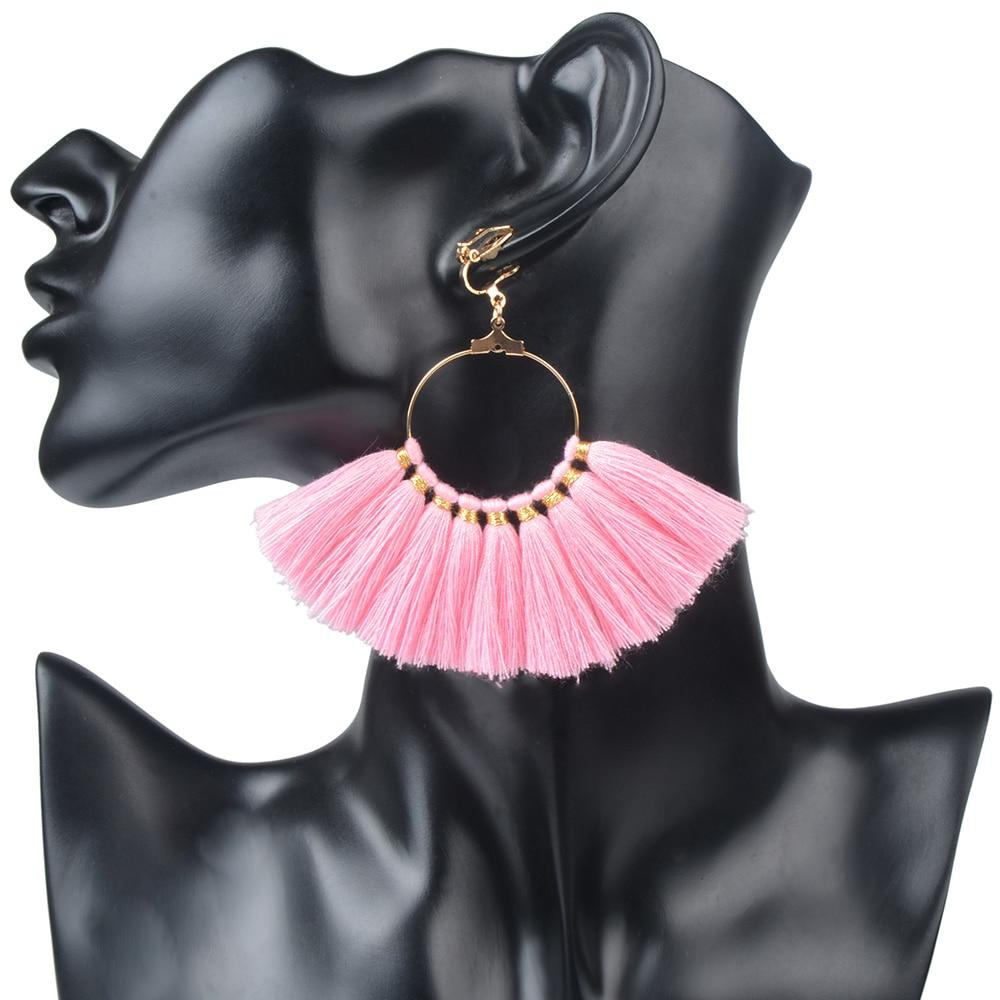 Fan Shaped Pink Tassel Earrings