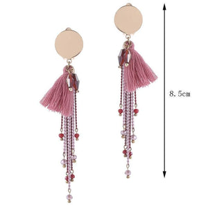 Pink Tassel Clip On Earrings
