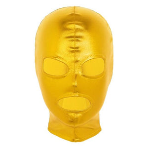 Latex Shiny Metallic Open Eyes and Mouth Mask Sissy Panty Shop Gold