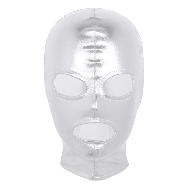 Latex Shiny Metallic Open Eyes and Mouth Mask Sissy Panty Shop Silver