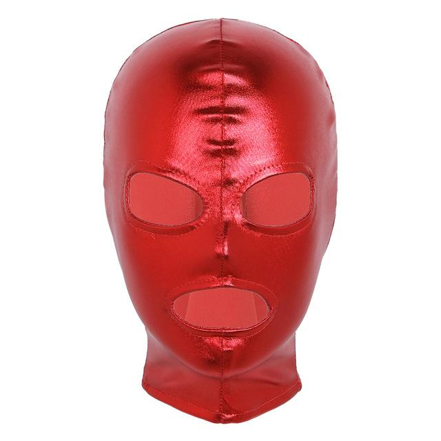Latex Shiny Metallic Open Eyes and Mouth Mask Sissy Panty Shop Red
