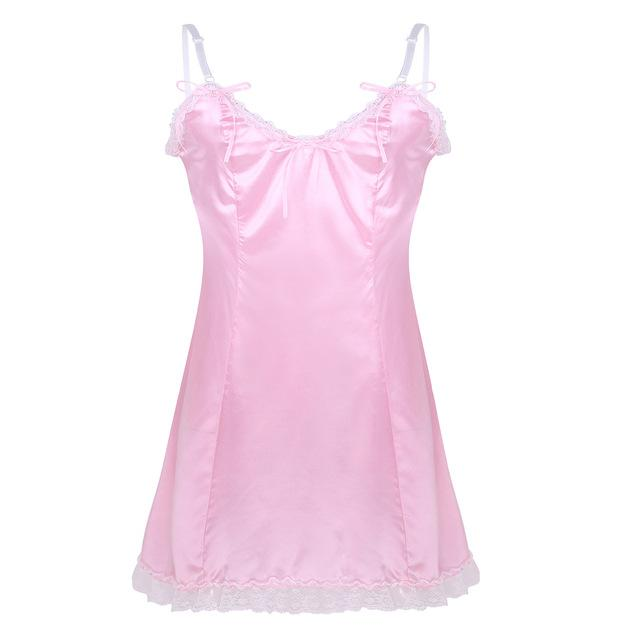 Satin Slip Dress Sissy Panty Shop Pink M
