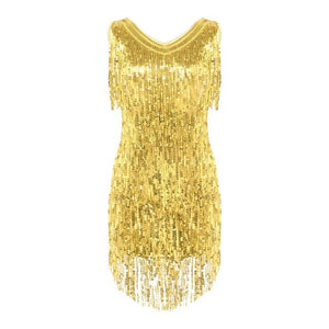 """Sissy Ramona"" Sparkling Tassels Dress Sissy Panty Shop Gold XL"