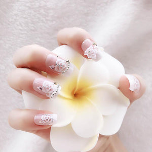 Luxury Rhinestone Flower Faux Nails Sissy Panty Shop