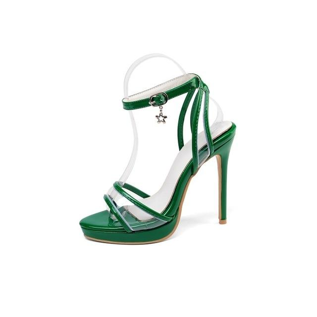 """Sissy Sydney"" Peep Toe Sandals Sissy Panty Shop green 16.5"