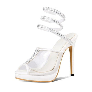 """Tranny Lena"" Peep Toe Sandals Sissy Panty Shop white 16"