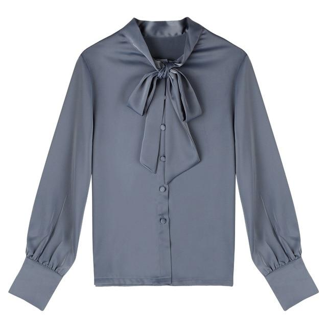 """Sissy Mia"" Bow Tie Satin Blouse Sissy Panty Shop GreyBlue M"