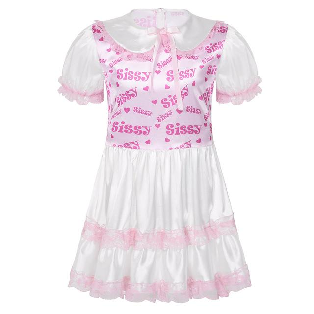 Satin Puff Sleeves Lace Trimmed Babydoll Sissy Panty Shop Pink M