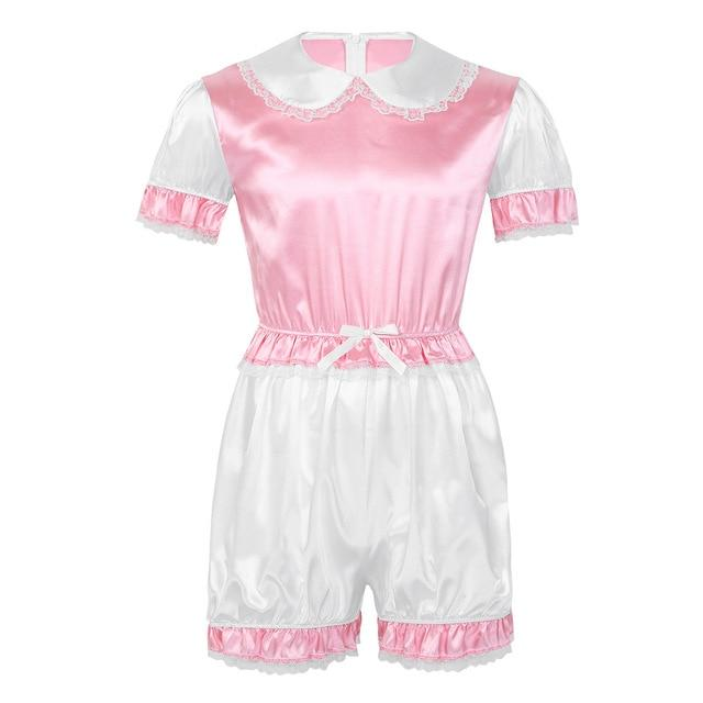Satin Doll Collar Puff Sleeves Romper Sissy Panty Shop Pink M