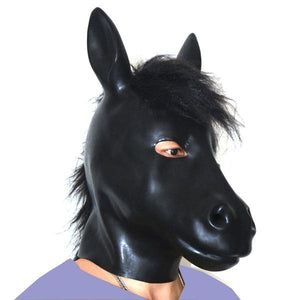Latex Horse Mask Sissy Panty Shop with bristle