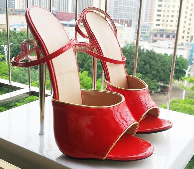 """Sissy Lorie"" Spike Heel Sandals Sissy Panty Shop Red shiny 11"