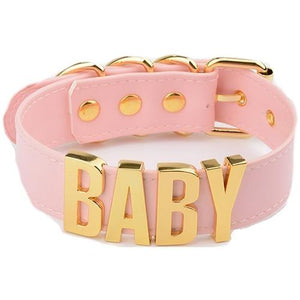 "ABDL ""Baby"" Choker Sissy Panty Shop pink-gold"