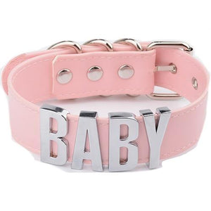 "ABDL ""Baby"" Choker Sissy Panty Shop pink-silver"