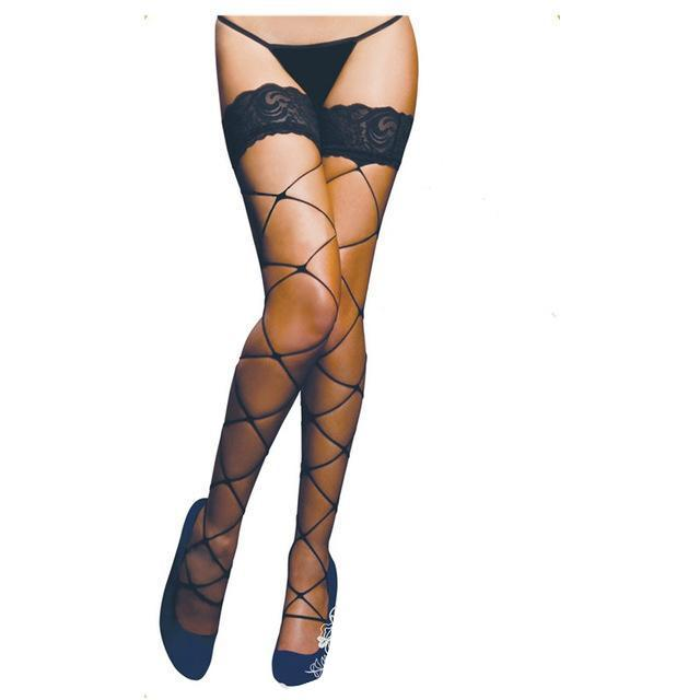 """Tranny Carlotta"" Sheer Lace Net Stockings Sissy Panty Shop Default Title"
