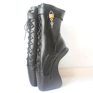 Lockable Heelless Ballet Ankle Boots Sissy Panty Shop Black Matte 11
