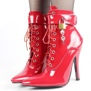 """Sissy Polly"" Stiletto Ankle Boots w/ Padlocks Sissy Panty Shop"