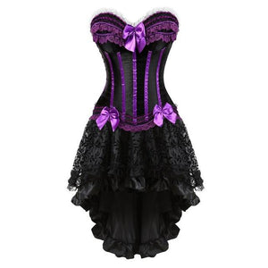 """Sissy Christina"" Lace & Bows Corset Dress Sissy Panty Shop purple S"