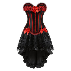 """Sissy Christina"" Lace & Bows Corset Dress Sissy Panty Shop red S"