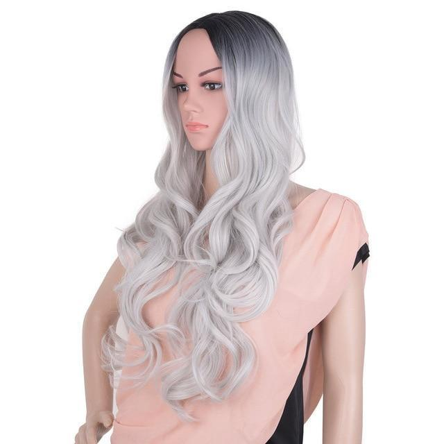 Bimbo Jane Wig Sissy Panty Shop ombre silver grey 24inches