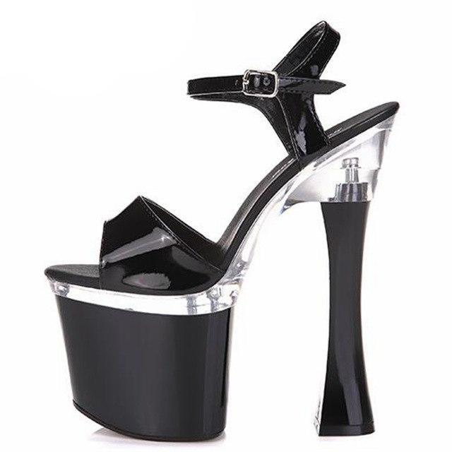 Thick Heel Platform Buckle Sandals Sissy Panty Shop Black 4