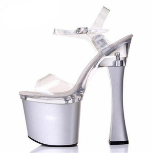 Thick Heel Platform Buckle Sandals Sissy Panty Shop transparent Sliver 3