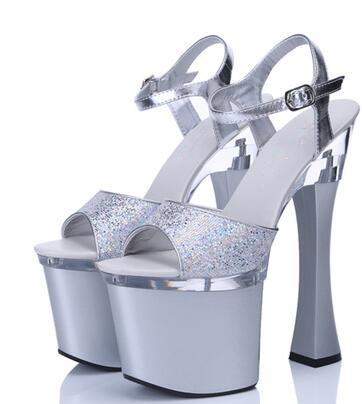 Thick Heel Platform Buckle Sandals Sissy Panty Shop Silver 4