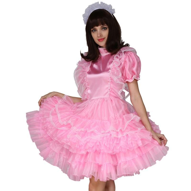 Sissy Maid Satin Pink Lockable Dress