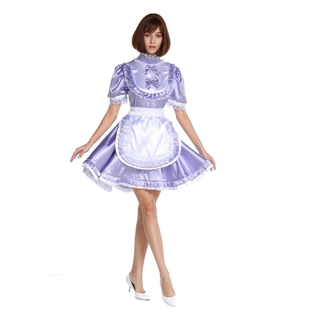 High Neck Frilly Sissy Lockable Lavender Satin Dress