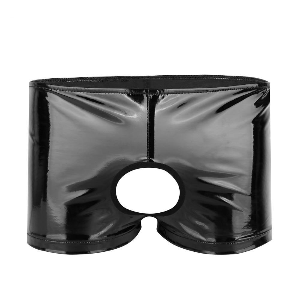 Faux Leather Open Butt Boxers w/ Front Hole Sissy Panty Shop