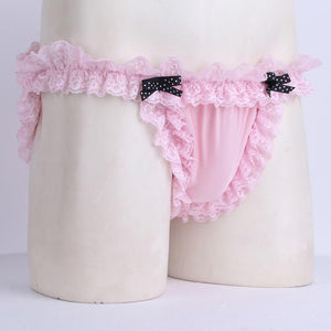 Sissy Maid Ruffled Lace Low-rise Soft Bikini Briefs The Sissy Panty Shop
