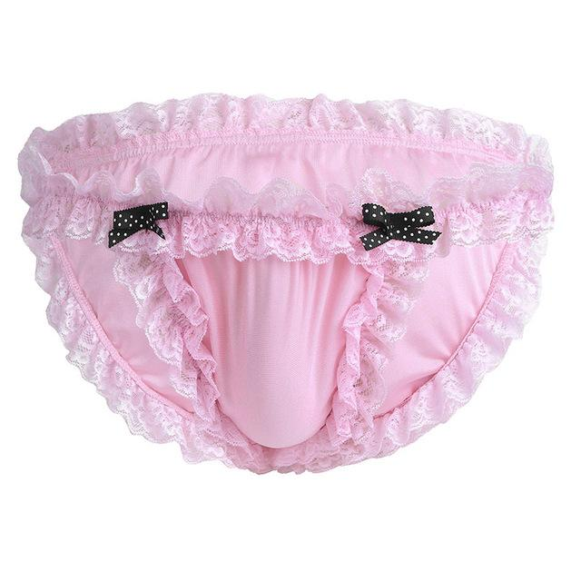 Sissy Maid Ruffled Lace Low-rise Soft Bikini Briefs The Sissy Panty Shop Pink M