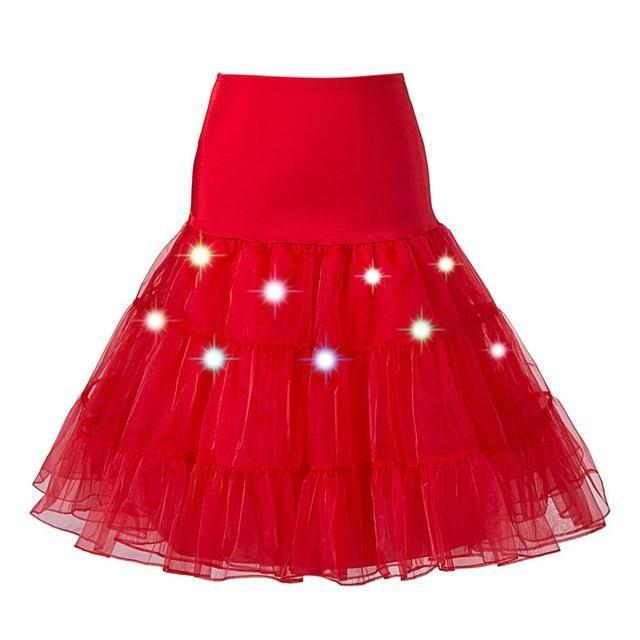 Tulle Petticoat with Lights Sissy Panty Shop Red One Size