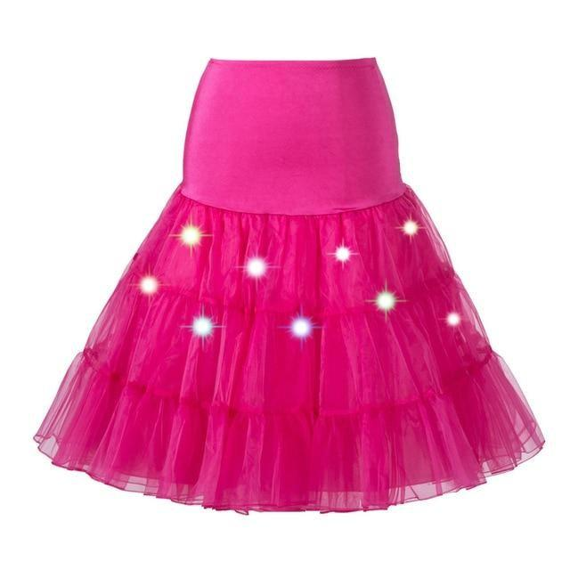 Tulle Petticoat with Lights Sissy Panty Shop Rose Red One Size