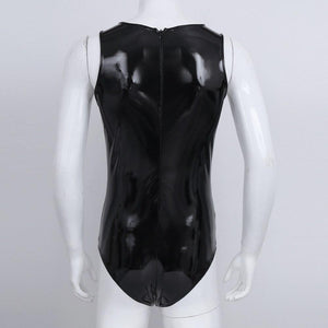 Patent Leather One-piece Sleeveless Bodysuit