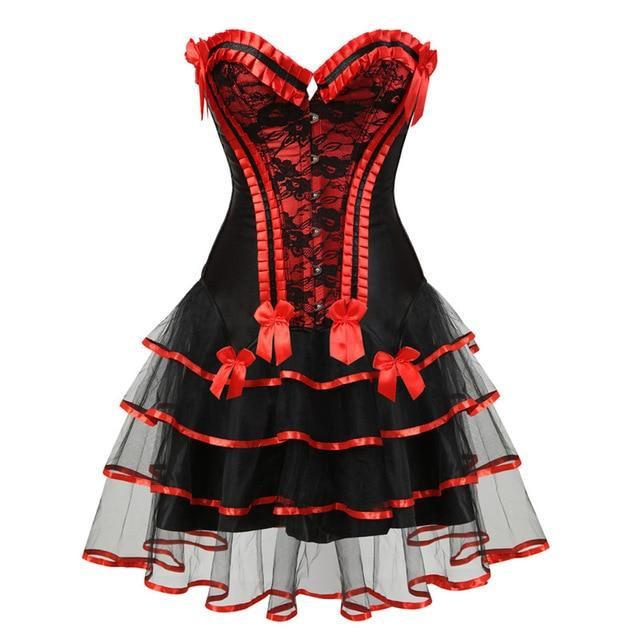 Lace Trimmed Sissy Corset Dress Sissy Panty Shop red-1 S