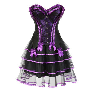 Lace Trimmed Sissy Corset Dress Sissy Panty Shop purple S